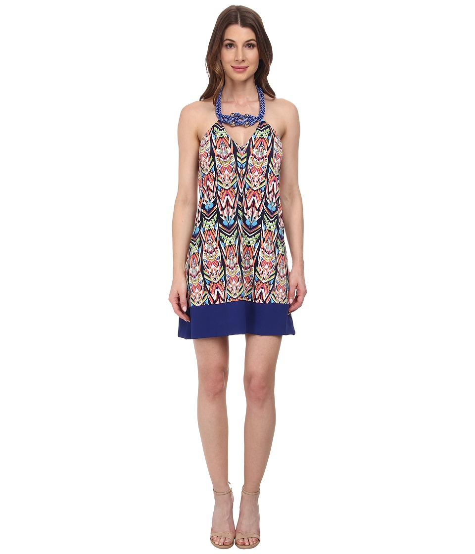 Tbags Los Angeles - Halter Dress w/ Blue Rope Neck Piece Hem (Print) Women