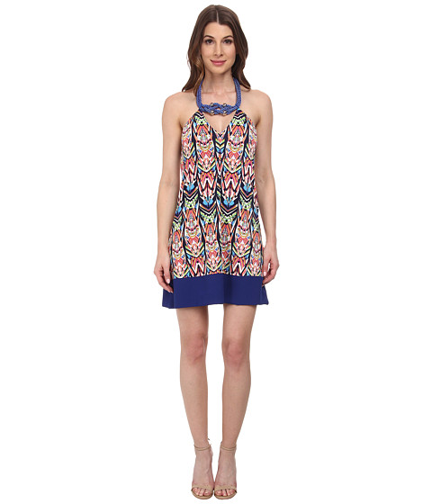 Tbags Los Angeles - Halter Dress w/ Blue Rope Neck Piece Hem (Print) Women's Dress