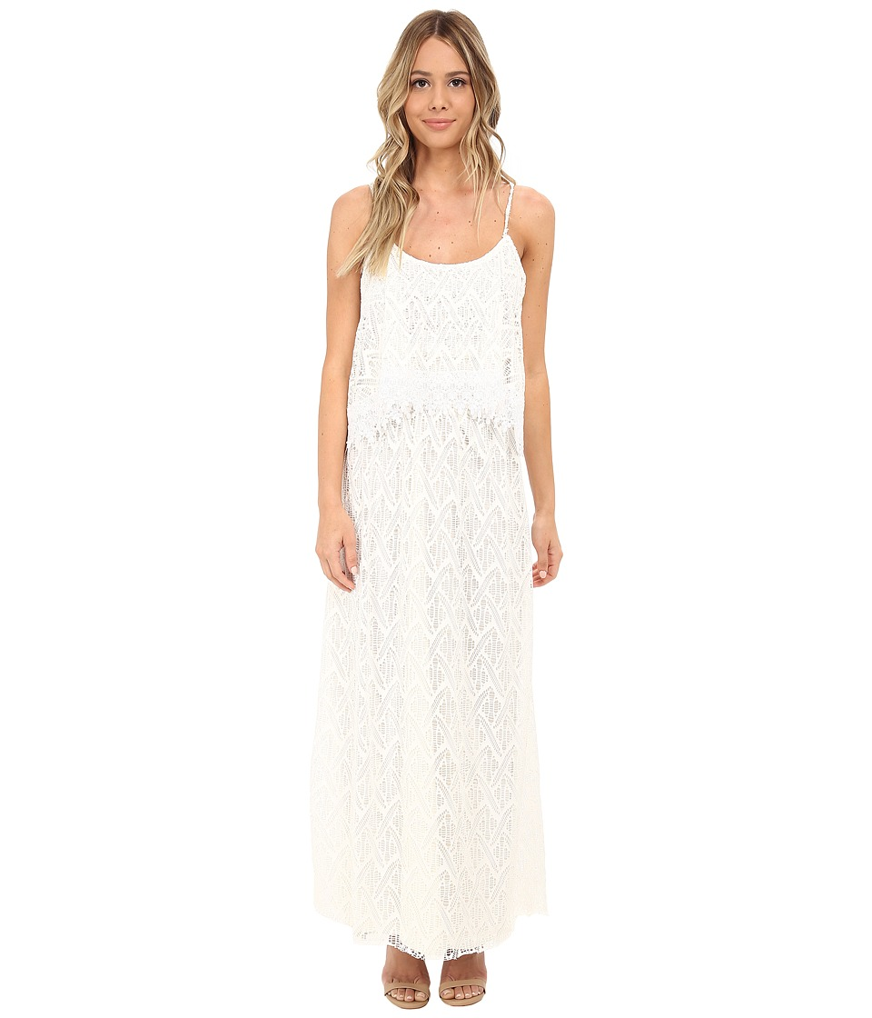 Tbags Los Angeles - Crochet Lace Off Shoulder Cami Maxi Dress (Pearl) Women