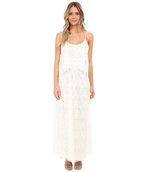 Tbags Los Angeles - Crochet Lace Off Shoulder Cami Maxi Dress (Pearl) Women's Dress