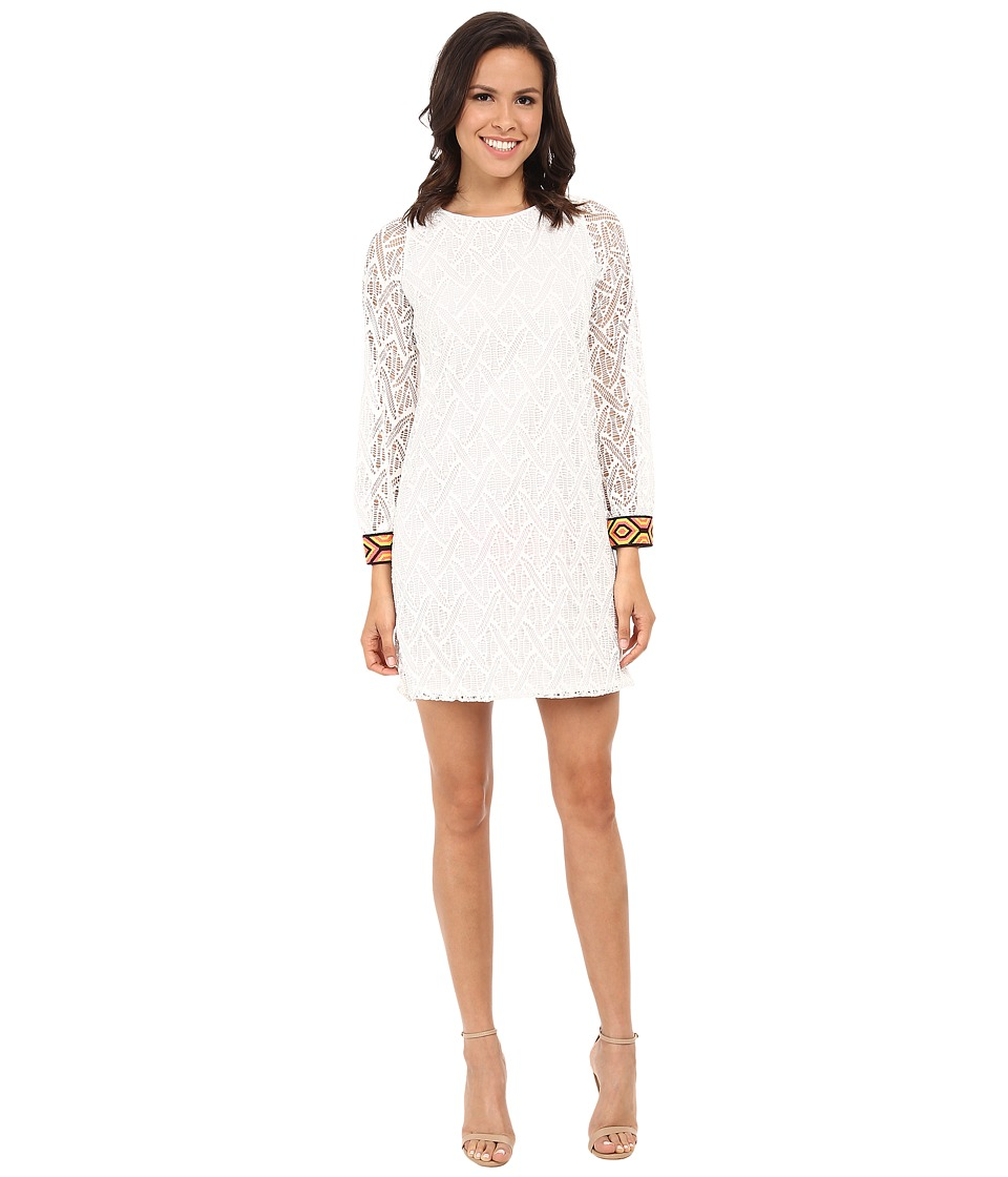 Tbags Los Angeles - Crochet Lace Long Sleeve Shift Dress (Pearl) Women's Dress