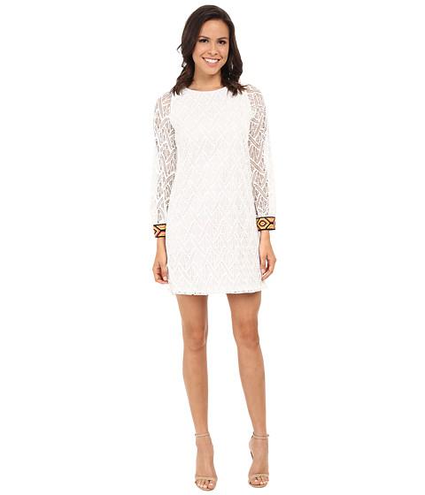 Tbags Los Angeles - Crochet Lace Long Sleeve Shift Dress (Pearl) Women