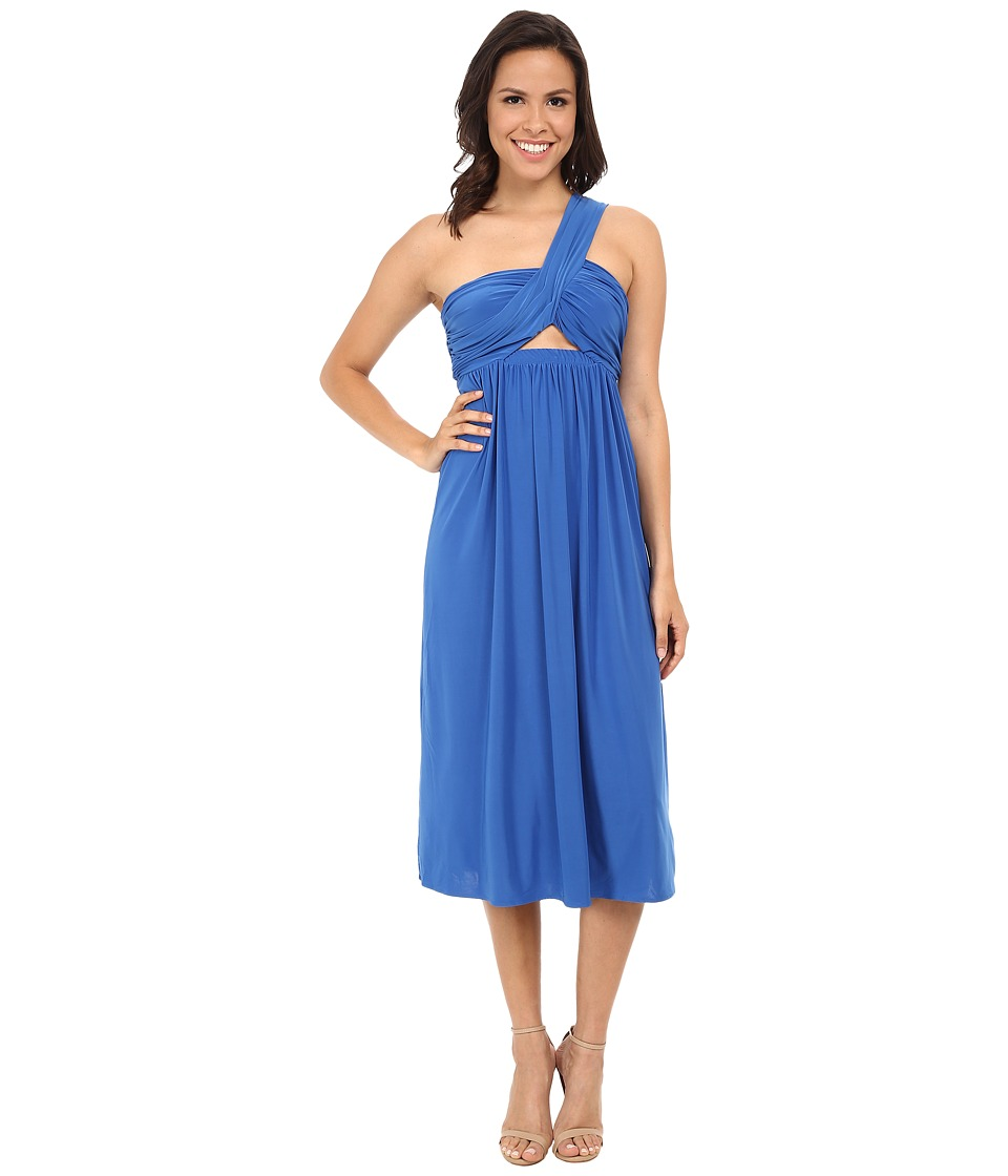 Tbags Los Angeles - One Shoulder Strap Front Cutout Bandeau Dress (Indigo) Women's Dress