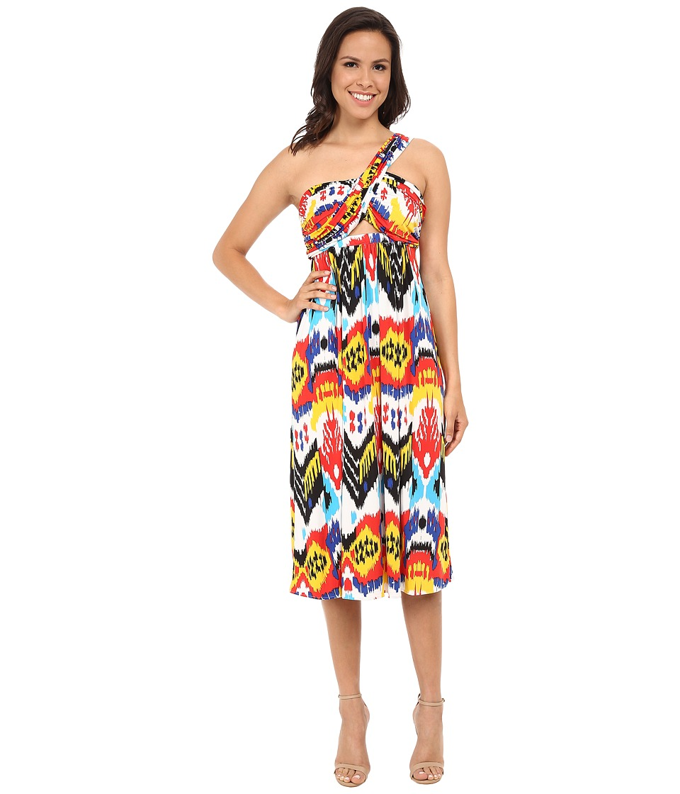 Tbags Los Angeles - One Shoulder Strap Front Cutout Bandeau Dress (Print) Women's Dress