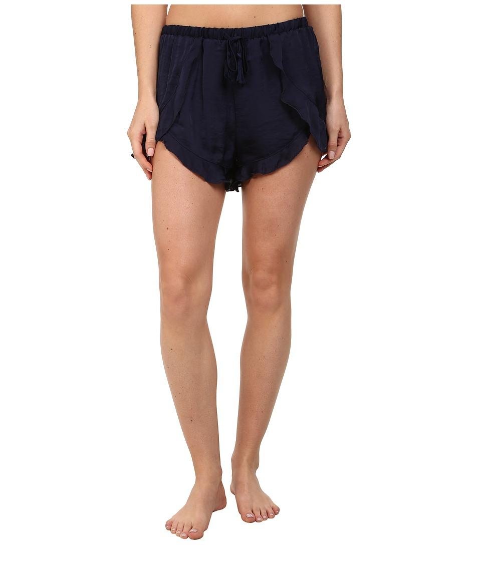 Free People - Sensual Satin Cascading Petal Shorts (Indigo) Women's Pajama