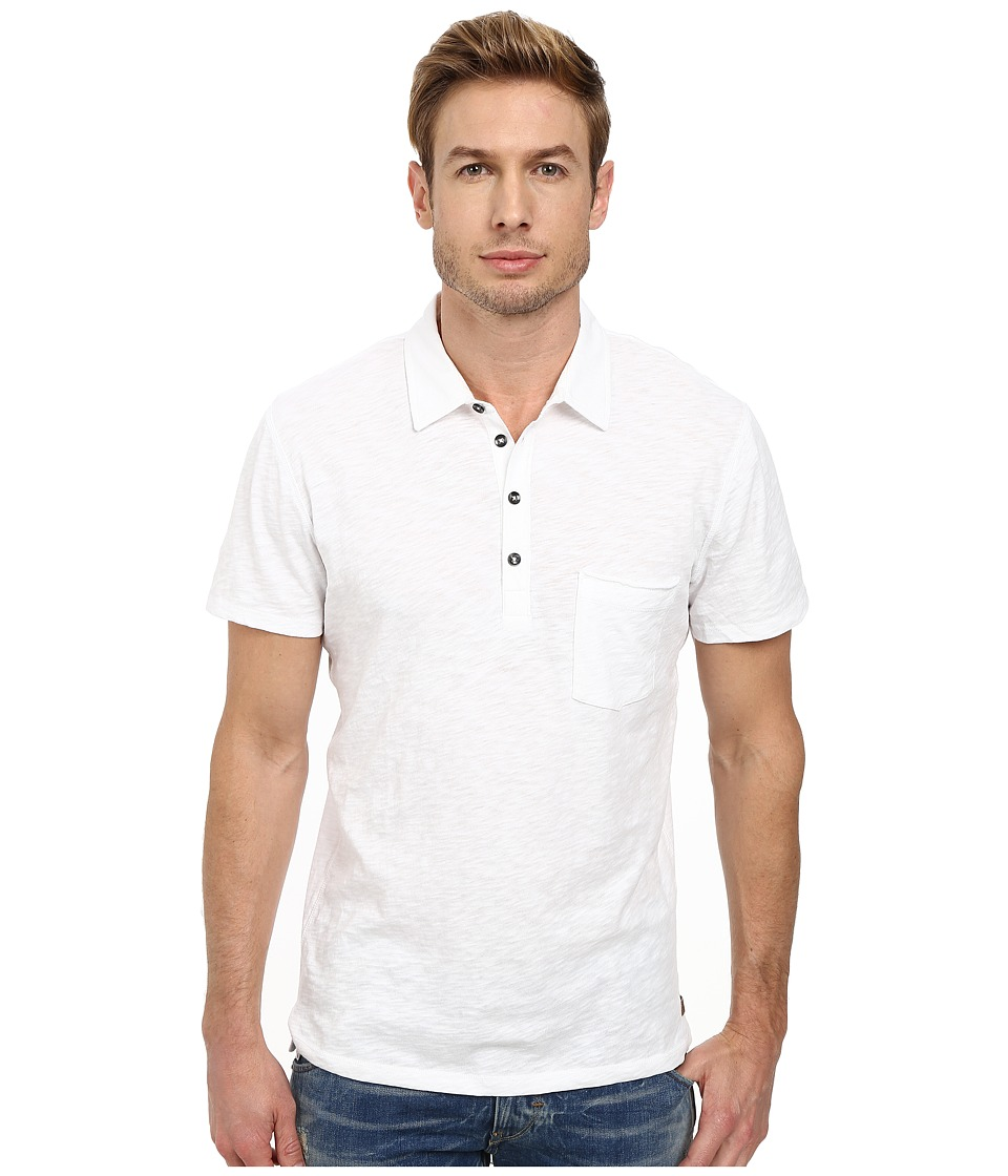 7 For All Mankind - Raw Placket Polo (White) Men's Short Sleeve Pullover
