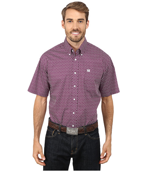 Cinch - Short Sleeve Print Shirt (Purple) Men's Short Sleeve Pullover