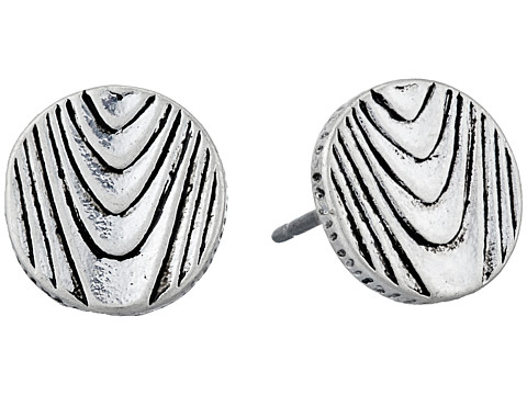 The Sak - Round Etched Stud Earrings (Silver) Earring