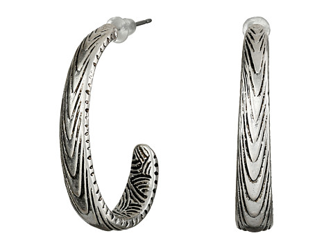 The Sak - Etched J-Hoop Earrings (Silver) Earring