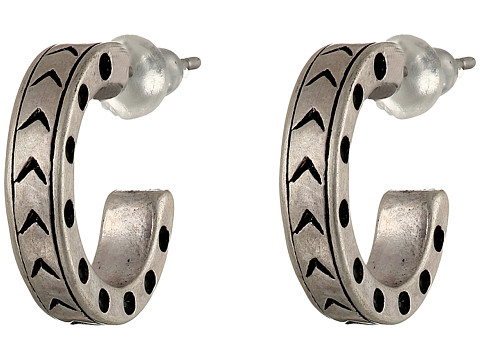 The Sak - Small Etched Hoop Earrings (Silver) Earring