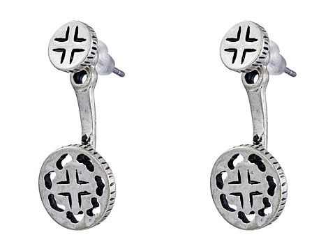 The Sak - Etched Front/Back Metal Earrings (Silver) Earring