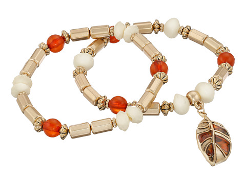 The Sak - Leaf Charm Stretch Bracelet Set (Carnelian) Jewelry Sets