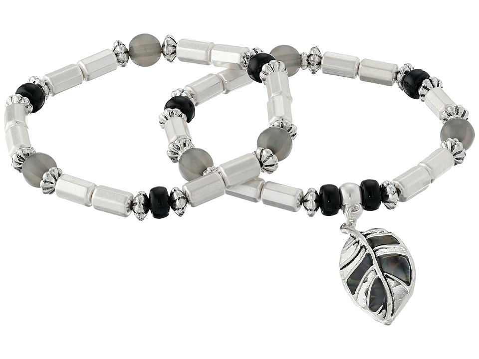 The Sak - Leaf Charm Stretch Bracelet Set (Black/Silver) Jewelry Sets