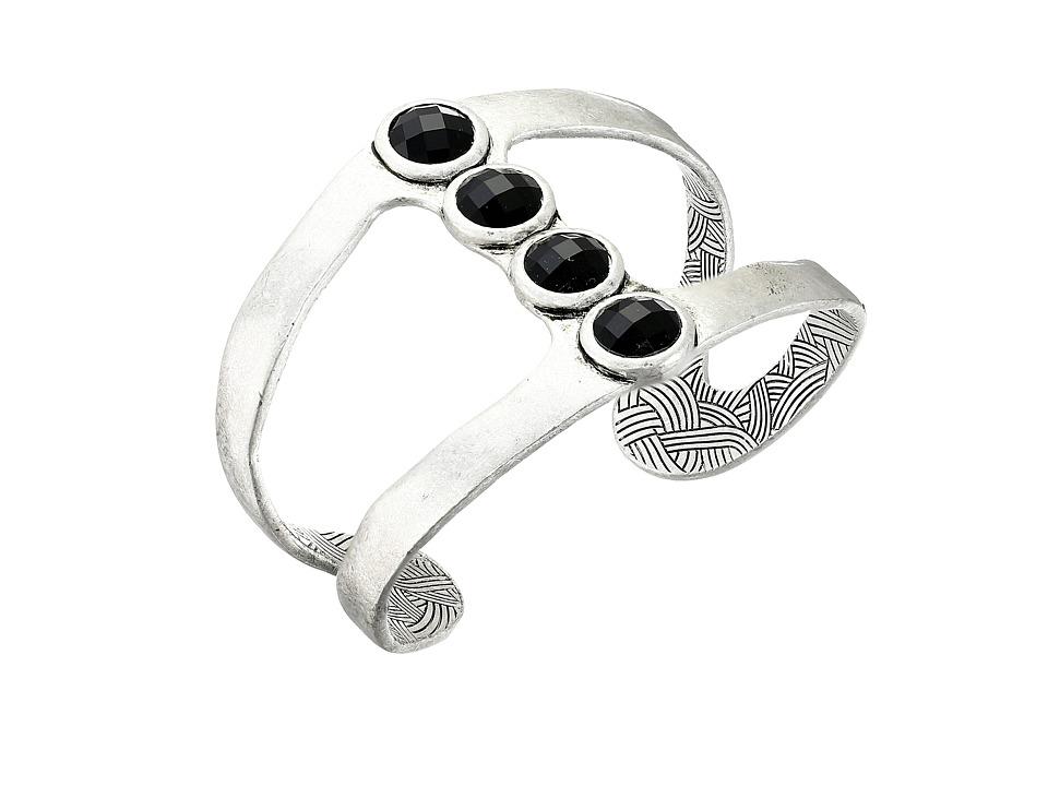 The Sak - Open Stone Cuff Bracelet (Black/Silver) Bracelet