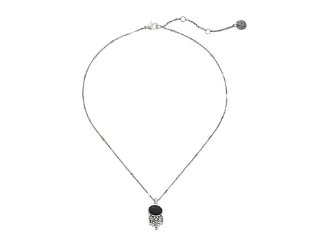 The Sak - Oval Stone Fringe Pendant Necklace 16 (Black/Silver) Necklace