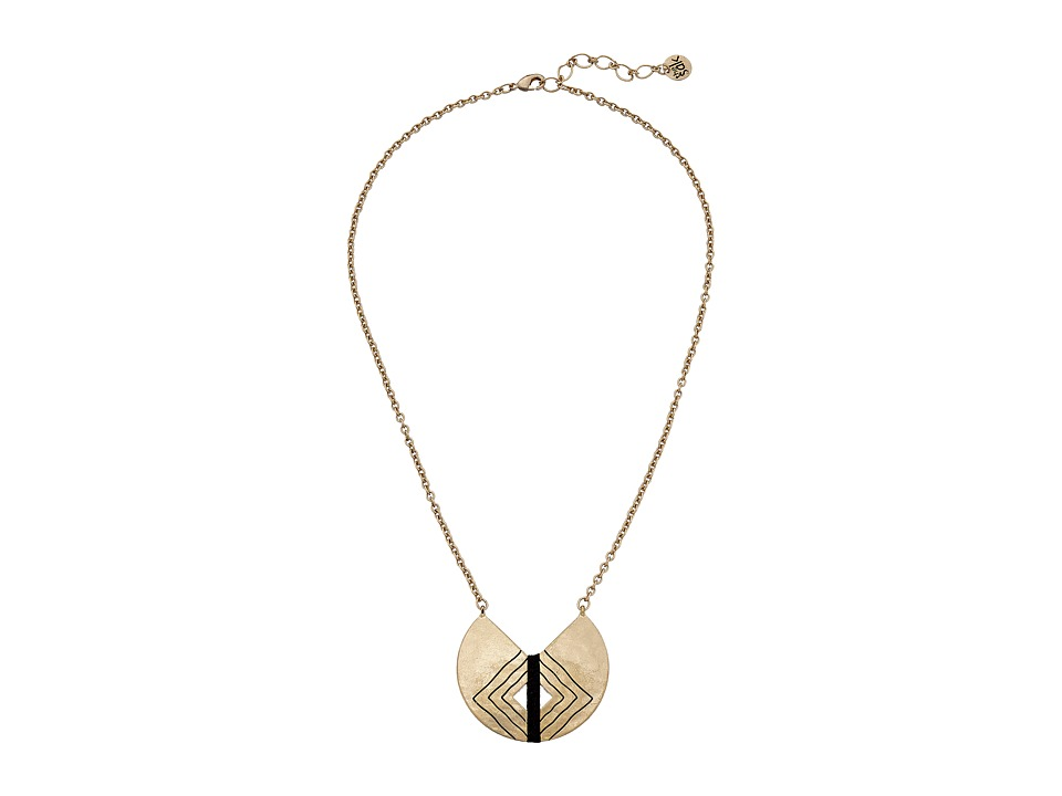 The Sak - Crescent Pendant Necklace 18 (Black/Gold) Necklace