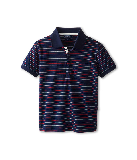 Toobydoo - Pin Stripe Polo Shirt (Little Kids/Big Kids) (Blue) Boy's Short Sleeve Button Up