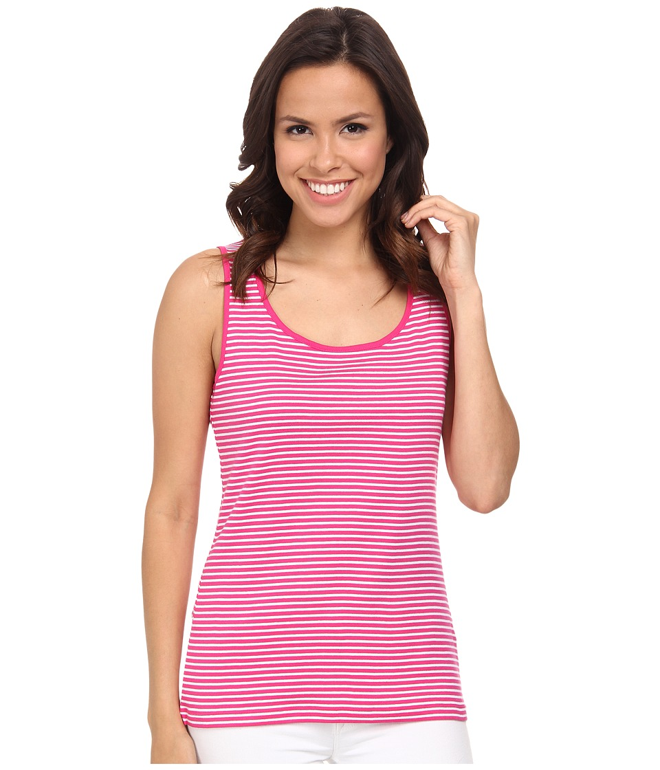 Jones New York - Stripe Scoop Neck Tank Top (Azalea/J White) Women's Sleeveless