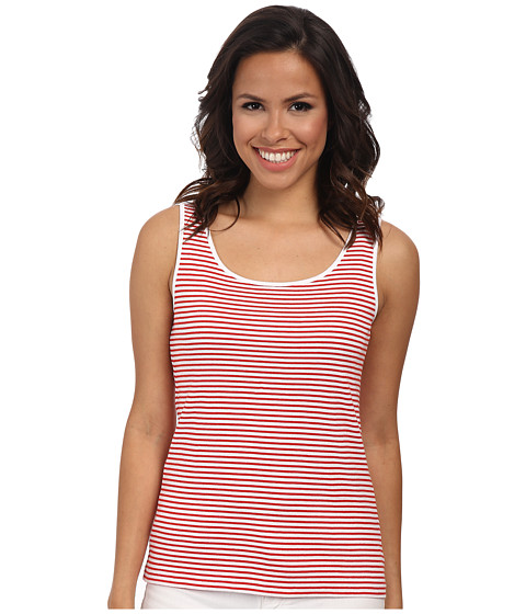 Jones New York - Stripe Scoop Neck Tank Top (J White/Red Coral) Women