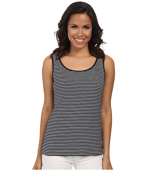 Jones New York - Stripe Scoop Neck Tank Top (Navy/J White) Women