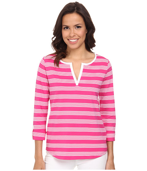 Jones New York - Stripe Split Neck Top (Azalea/J White) Women's Clothing