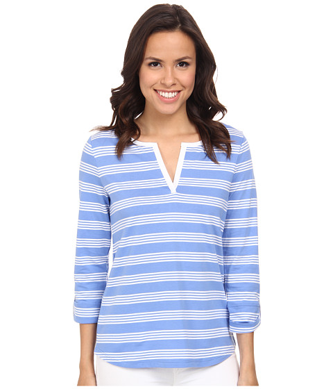Jones New York - Stripe Split Neck Top (Wedgewood/J White) Women