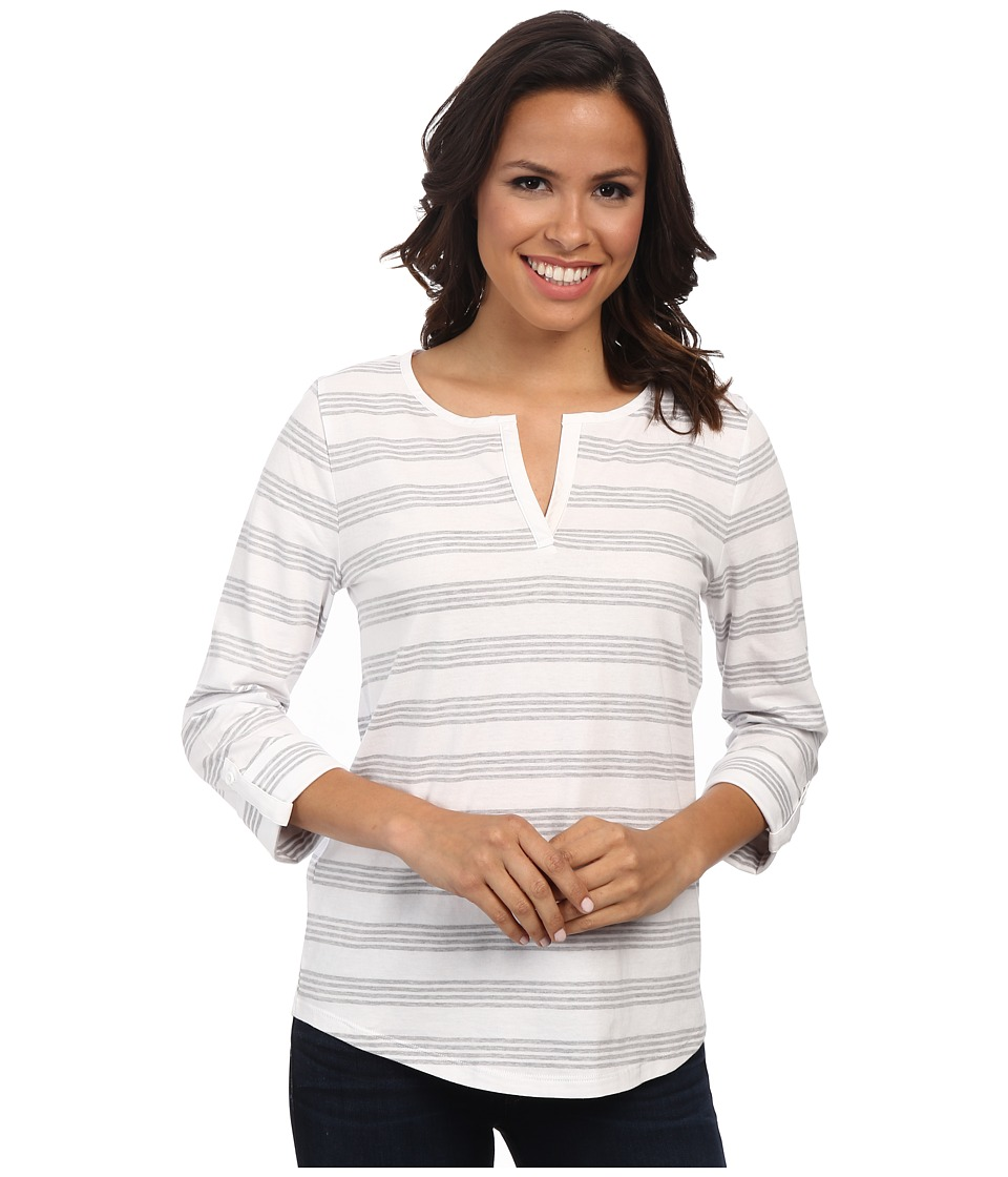 Jones New York - Stripe Split Neck Top (J White/Nickel Heather) Women's Clothing