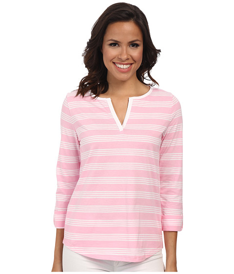 Jones New York - Stripe Split Neck Top (Peony/J White) Women's Clothing