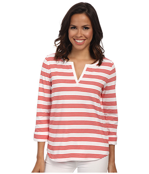 Jones New York - Stripe Split Neck Top (J White/Red Coral) Women's Clothing