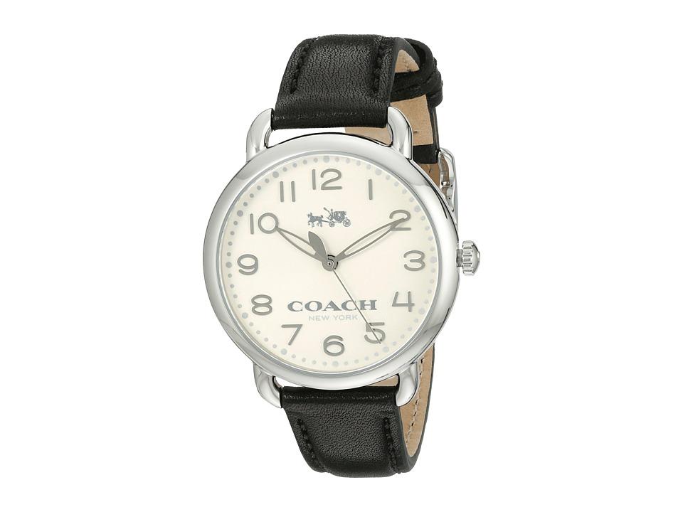 COACH - Delancey 36mm Leather Strap Watch (Chalk/Black) Watches