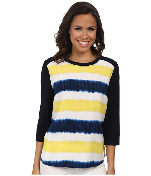 Jones New York - Tie-Dye Blocked Shirt (Navy/Lemon Multi) Women's Blouse