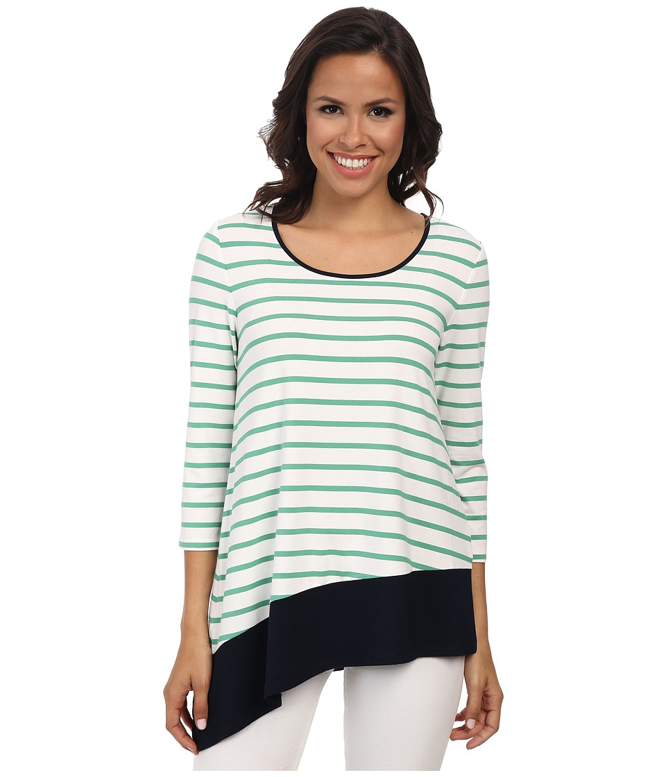 Jones New York - Stripe Asymmetric Top (Jade Green/Navy) Women's Clothing