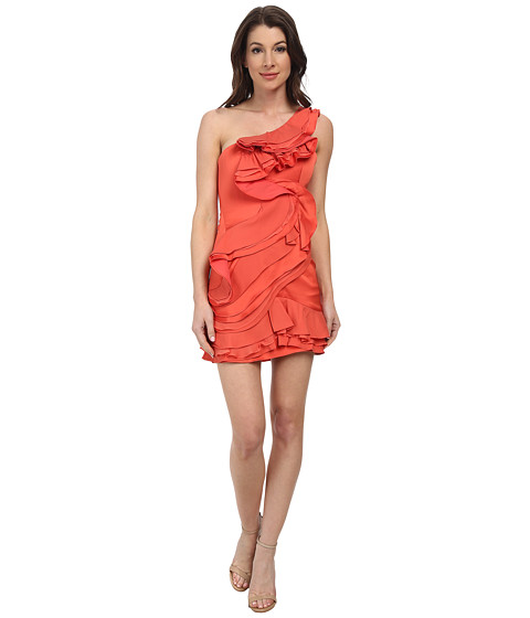 BCBGMAXAZRIA - Jonesy Ruffled One Shoulder Dress (Coral) Women's Dress