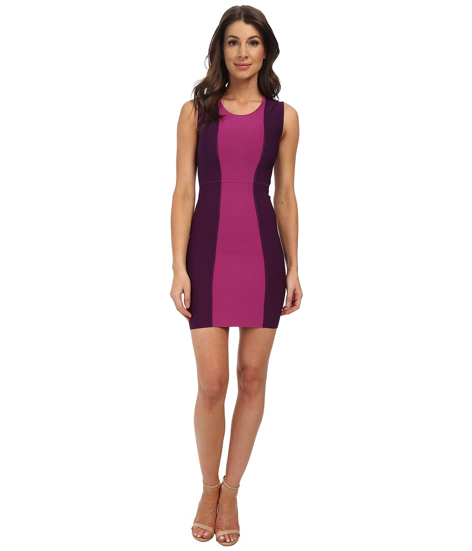 BCBGMAXAZRIA - Aliza Color Block Power Dress (Bordeaux Combo) Women's Dress