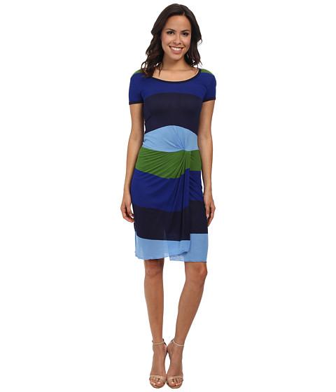 BCBGMAXAZRIA - Noah T-Shirt Striped Dress (Light Chambray Multi) Women