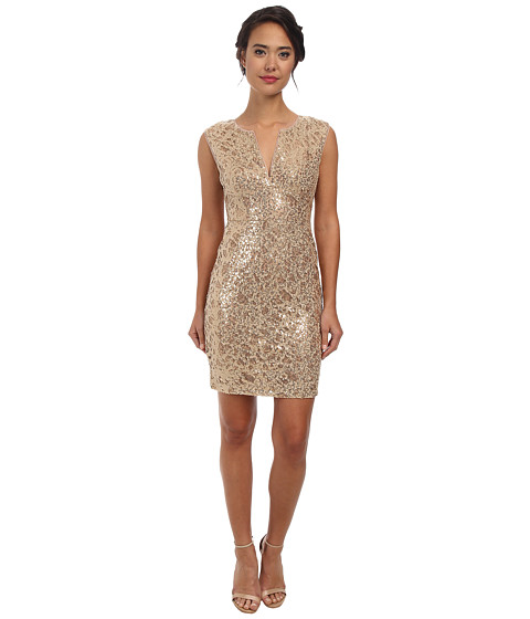 BCBGMAXAZRIA - Kaya Sequin Embroidered Dress (Gold Combo) Women