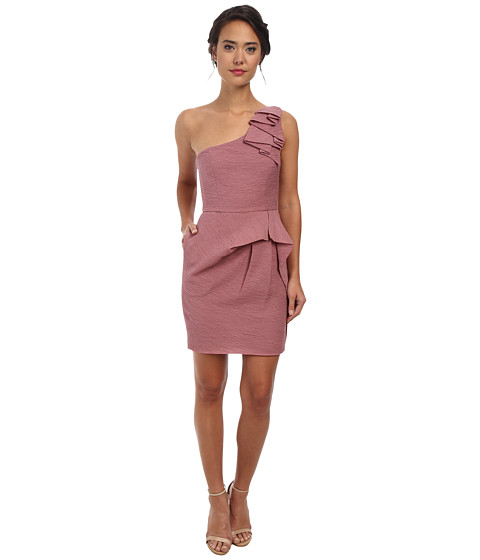 BCBGMAXAZRIA - Audrey One Shoulder Dress (Dark Dusty Rose) Women