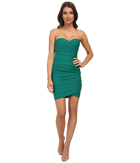 BCBGMAXAZRIA - Madge Strapless Ruched Cocktail Dress (Ultra Green) Women