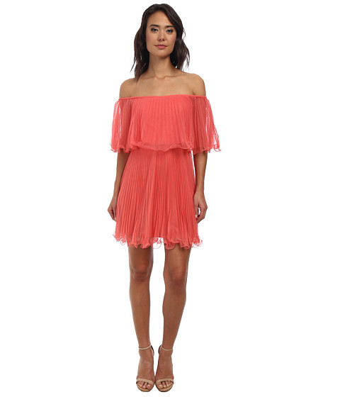 BCBGMAXAZRIA - Lace Shalom Pleated Cocktail Dress (Coral) Women's Dress