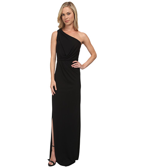 BCBGMAXAZRIA - Petite Snejana One Shoulder Long Dress (Black) Women