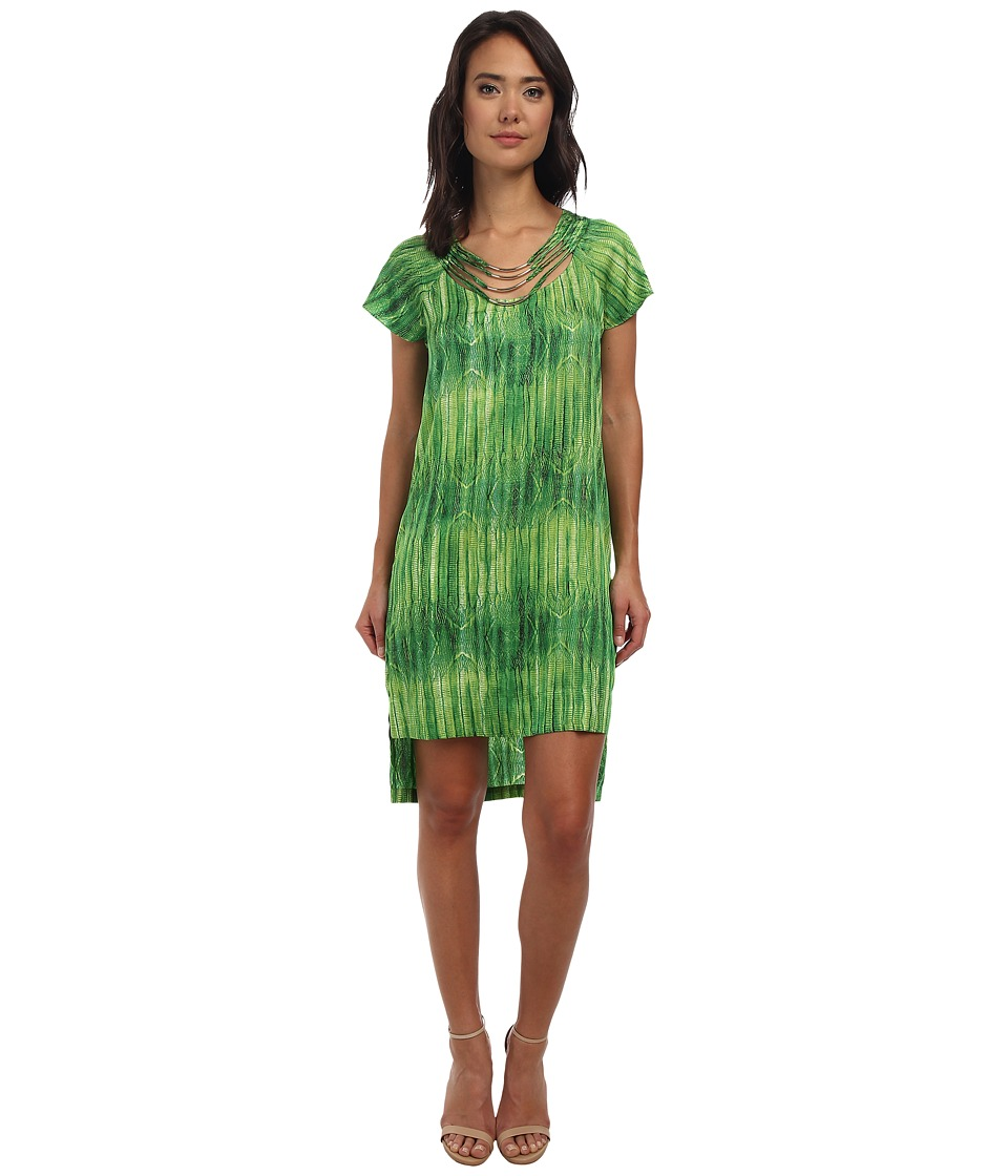 BCBGMAXAZRIA - Enola Detailed Neckline Dress (Bright Lime Combo) Women