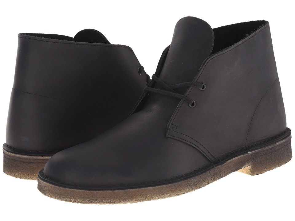 Clarks - Desert Boot (Black Beeswax Leather) Men's Lace-up Boots