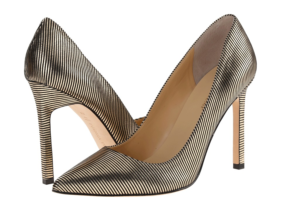 Ivanka Trump Carra (Gold/Black Stripe Leather) High Heels