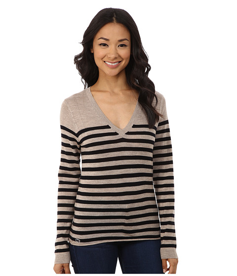 Lacoste - Long Sleeve Placement Stripe Wool Neck Sweater (Cork Chine/Midnight) Women's Sweater