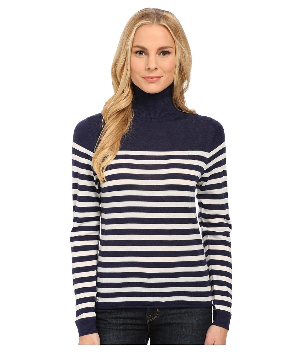 Lacoste - Long Sleeve Placement Stripe Wool Turtleneck Sweater (Aquatic/Flour) Women
