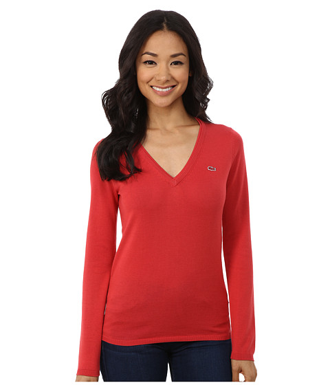 Lacoste - Long Sleeve Cotton Double Overlay V-Neck Sweater (Goji Red) Women