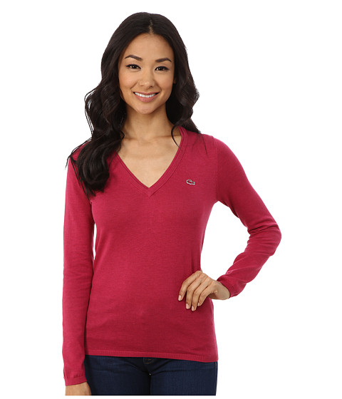 Lacoste - Long Sleeve Cotton Double Overlay V-Neck Sweater (Fairground Pink Chine) Women's Long Sleeve Pullover