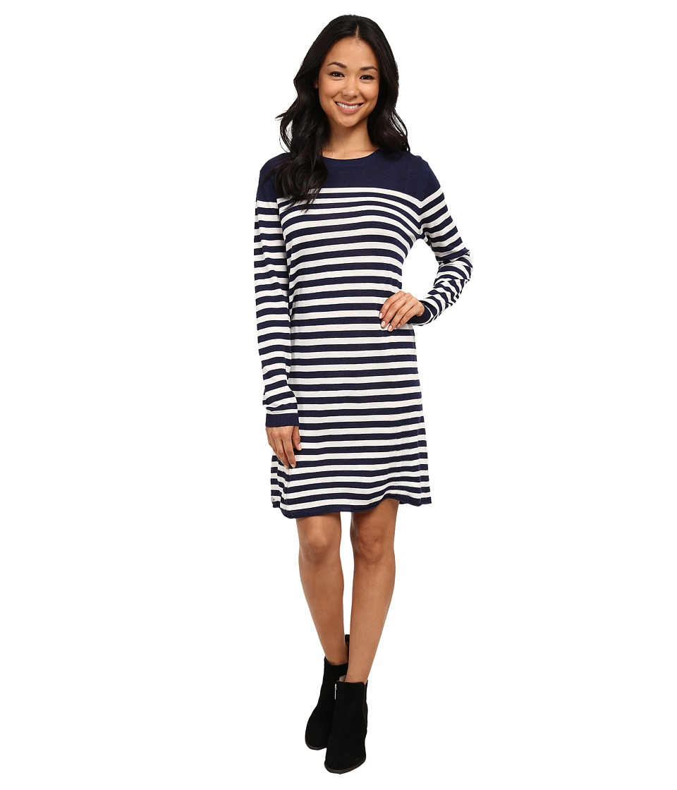 Lacoste - Long Sleeve Placement Stripe Wool Sweater Dress (Aquatic/Flour) Women's Dress