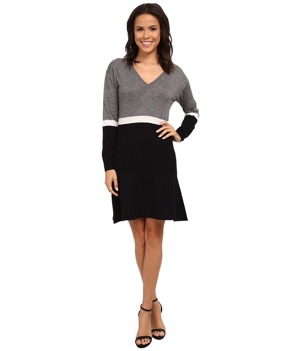 Lacoste - Long Sleeve Color Block Sweater Dress (Stone Chine/Vanilla Plant/Midnight) Women