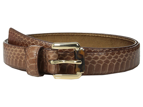 MICHAEL Michael Kors - 20mm Feather Edge Genuine Snake Panel on Tortoise Roller Bar Buckle Belt (Luggage) Women's Belts